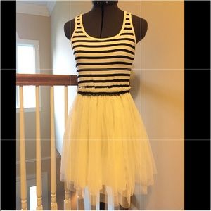 BCBG Bl/white stripe tank dress w tutu skirt -Sm